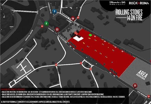 Mappa concerto stones roma