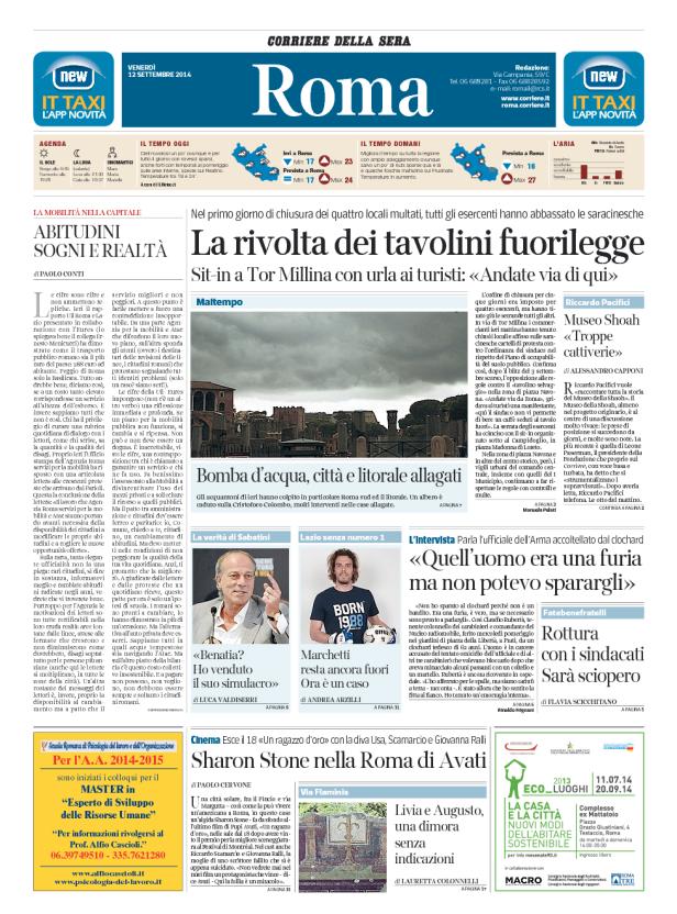 prima pagina corriere roma