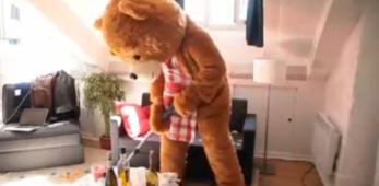 """Delirio dopo la festa? Arriva l'orso """"lavatore"""""""