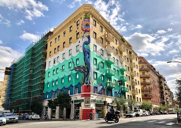 Inaugurato a Ostiense il piu' grande murale ecosostenibile d'Europa